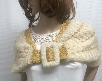 Free shipping, Capelet,Cape, knit stole,knit shrug, Made in Italy, white and gold, knit wrap,  buckle
