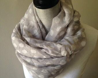 lightweight scarf, summer scarfs, Polka Dot scarf, Gray scarves, Fashion Scarf, Fashion Scarves,
