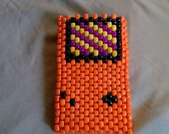 "Orange ""gameboy"" bead phone accessory bag case"