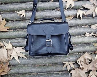 Black Leather DSLR Camera Bag with Padding / Greek Messenger Bag with Insert Divider / Pink / Blue / Shoulder Bag