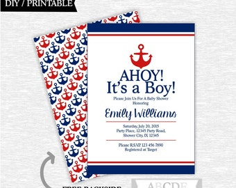Red and Navy Nautical Baby Shower invitation, Nautical Baby Shower DIY Printable (PDNSI001)