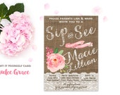 sip and see invitations, Rustic Peach Sip and See invitation, meet baby invites, welcome home party, adoption shower invitation, PRINTABLE