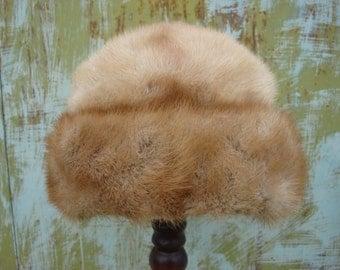 Vintage Women mink hat, beautiful elegant golden mink fur hat  Soviet Vintage 1970s