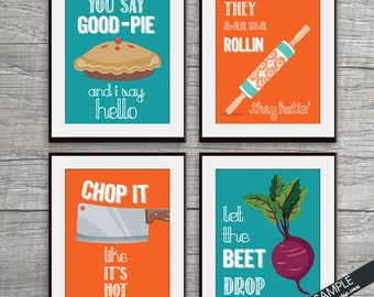 Good Pie, Rollin, Chop it, Beet Drop (Funny Kitchen Song Series) Set of 4 Art Prints (Featured in 14 and 9) Kitchen Art