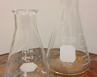 vintage lab glass pyrex and kimax flasks , 125 mL and 250 mL