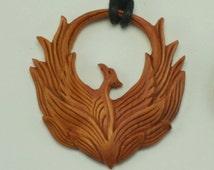 Holy Phoenix Necklace, Sono Wood Holy Phoenix Pendant, Holy Phoenix Pendant, Wooden Pendant, Wooden Holy Phoenix Necklace, Hand Carved Wood