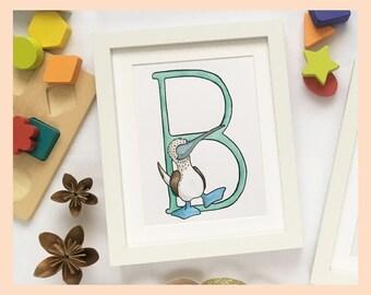 "B is for Boobie. Alphabet Nursery Art 8""x10"" mounted print. New baby gift. Name illustration"