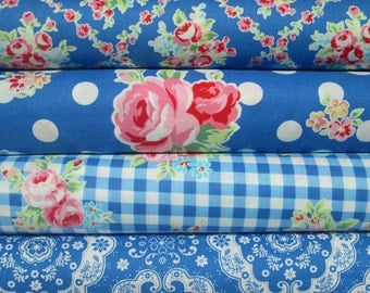Lecien Flower Sugar, Fall 2015, Dark Blue, Fat Quarter Bundle of 4, Japanese Fabric