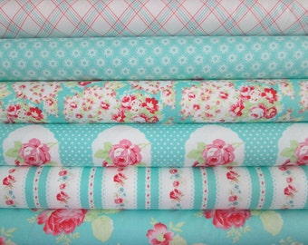 Tanya Whelan, Lola in Aqua Blue, 6 Fat Quarters, Free Spirit Fabric