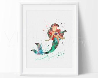 Ariel Little Mermaid Disney Princess Nursery Art Print, Baby Girl Nursery Art, Kids Bedroom Decor, Buy 2 Get 1 Free, No. 102