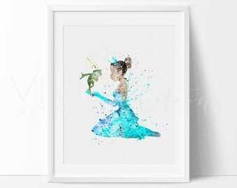 Princess Tiana, Princess and the Frog, Disney Baby Girl Nursery Art, Watercolor Art, Wall Decor, Modern Baby Room Print, Not Framed No. 74