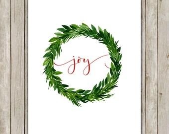 8x10 Christmas Printable Decor, Joy Art Print, Typography Print, Digital Art Print, Holiday Decor, Holiday Wreath Art, Instant Download