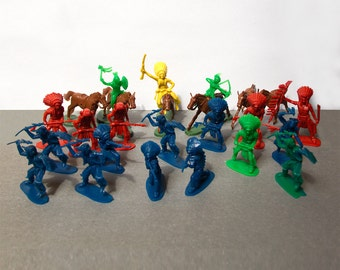 Indians and horses  Plastic toys  1960's  Mini figurines  Western  Hong Kong