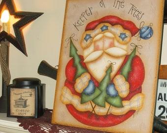 Christmas Santa hp wooden plaque, Cyndi Combs