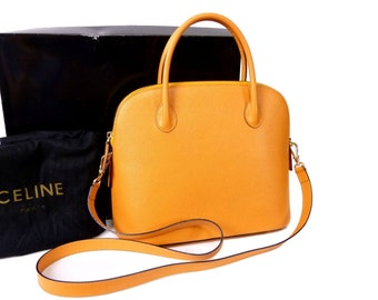 Authentic CELINE Vintage YELLOW Leather 2 Way Satchel Shoulder Bag Bolide RARE