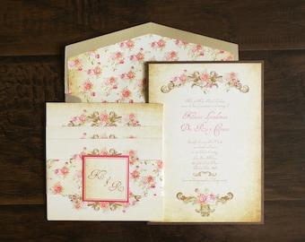 5x7 Gold Vintage Victorian Romantic Floral Wedding Invitation Suite with Postcard RSVP, Accommodations & Directions Insert