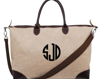 Monogrammed Jute Overnight/Weekender Bag -- Fabulous Combination of Form and Function!