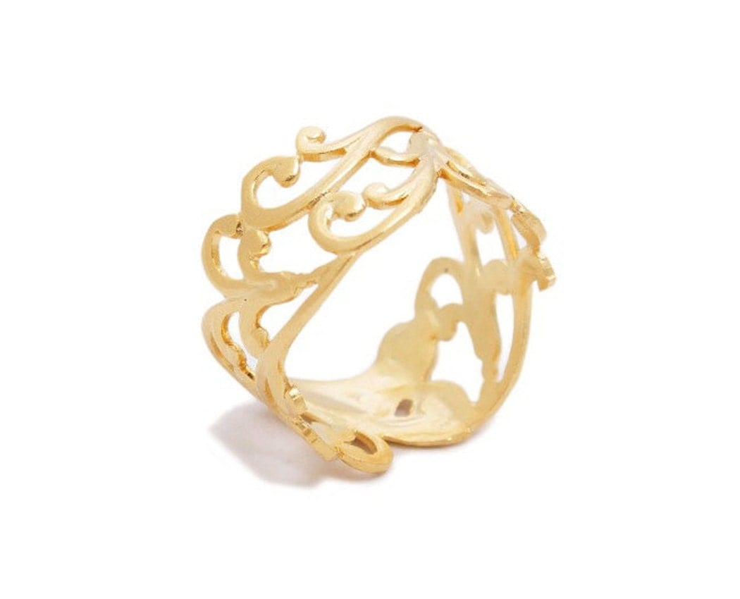 gold lace ring gold plated band gold filigree ring lace