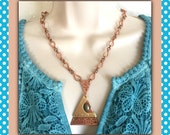 Copper, Brass and Gemstone Necklace and Earring set, Handmade Jewelry, Pyrite Jewelry, Metal Jewelry, Copper Jewelry, Healing Jewelry