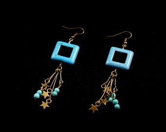 Bronze earrings ears square blue howlite, bronze stars and turquoise howlite beads on stems