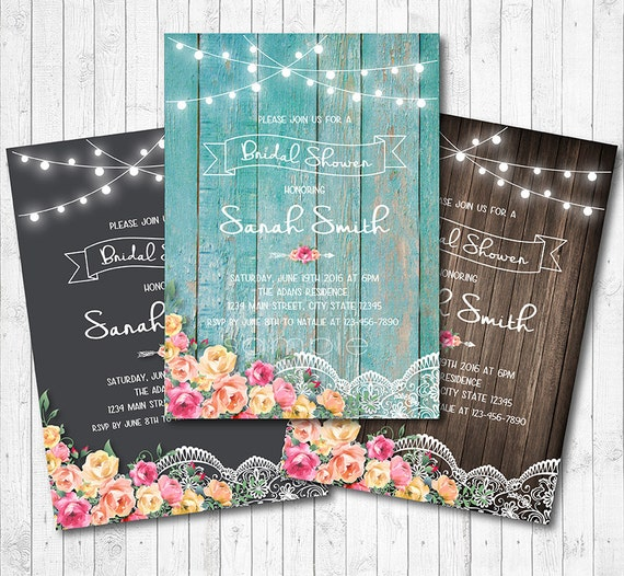 Floral and Lace Bridal Shower Invitation