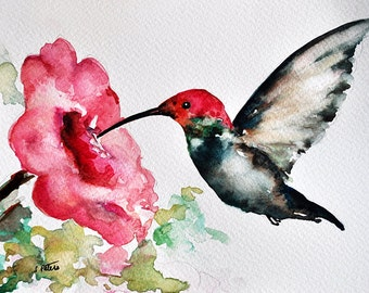 ORIGINAL Watercolor Painting, Hummingbird With Pink Flower, Wildlife Art 6x8 Inch
