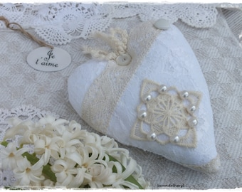 Dekoherz country Haus Deco cream shabby chic white HAND MADE of lace and pearls