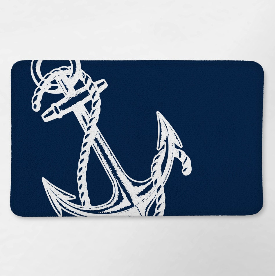 Anchor Rugs: Nautical Bath Rug Nautical Bathroom Navy Blue Anchor Bath