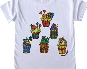 Girls T shirt to Colour in Cupcakes Design Doodle Colouring in Art Fabric Pens Tee Shirts Fun Activity for Kids