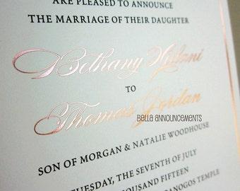 100 - Rose Gold Foil Wedding Invitations + 100 RSVP Cards