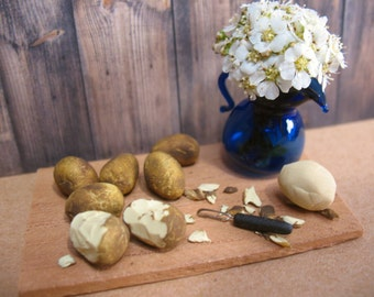 Miniature Potatoes, Miniature Vegetables, Miniature Produce, Farm Miniatures, Dollhouse Vegetables, Miniature Food, Dollhouse Food, Potatoes