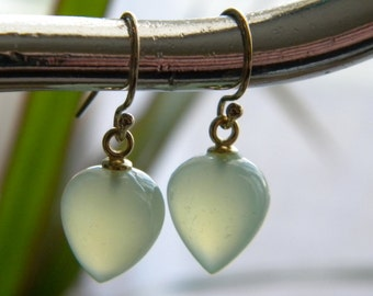 Lime Green Smooth Chalcedony Earrings, Inverted Acorn Drops, Women's Jewelry, Lime Green Earrings, Gold Filled, KarenWolfeCreations