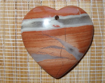 SALE on this Pendant ~ 3.00 Off / Red Stripes Jasper Heart Pendant Bead