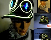 Light Up Cap LED Hat - E3 Gator Robot Cap Rave Snapback for Dancer DJ Party Costume Edm Scifi Future Futuristic Hat Halloween Head Wear