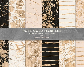 Rose Gold Marbles and Veins in Metallic Foil