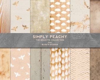 Simply Peachy Rose Gold Foil and Watercolor Textured Digital Backgrounds