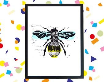 Lino print bee color 20 x 15 cm
