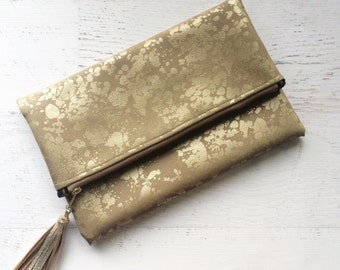 Metallic Splatter Faux Suede Foldover Clutch - Gift for her, Birthday, Anniversary, Bridesmaid