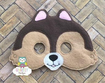 Chipmunk Mask, Kids Dress Up Mask, Chipmunk Costume Mask, Wool Blend Mask, Felt Chipmunk Mask, Jungle Party Favor, Monkey Mask