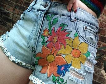 Handdrawn Flower Shorts