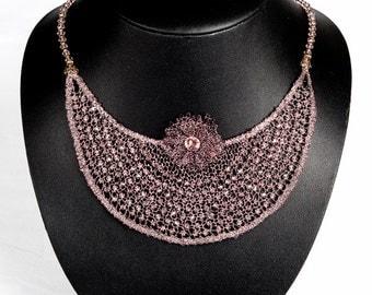 "Jewelry-Wedding necklace ""Bérénice"" in bobbin lace"
