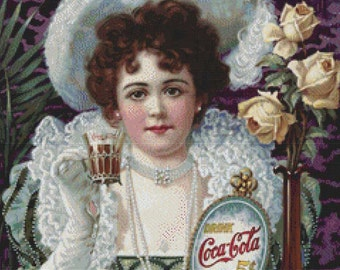 Coca Cola Vintage Poster PDF Cross Stitch Pattern