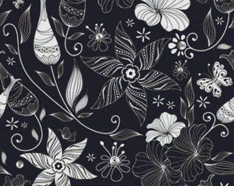 Black and White Flowers PDF Cross Stitch Pattern