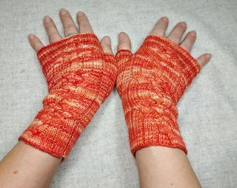 Fingerless Gloves Orange and Red with Cables, Handknitted Mittens for Women, Arm Warmer, Handpainted Wool,