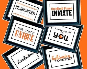 6 Orange is the New Black Patterns - PDF Cross-Stitch Pattern - Netflix