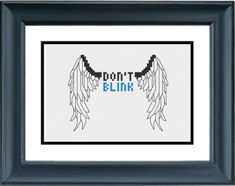 Don't Blink - Doctor Who - PDF Cross-Stitch Pattern - Dr Who - Angel wings, statue