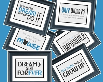 6 Cross Stitch Patterns - Walt Disney Quotes - PDF Cross-Stitch Pattern
