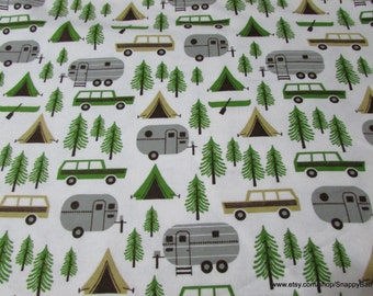 Flannel Fabric - Camping Trip on White - 1 yard - 100% Cotton Flannel