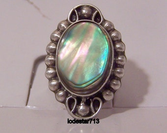 Sterling Silver Ring w/ Abalone Apprx Sz 7