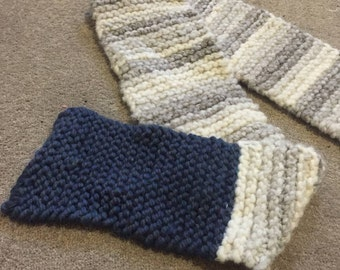 Hand knitted woolen scarf